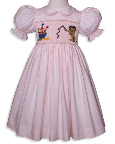 Hand Smocked Girls Birthday Dress in Pink Cotton Circus Animals