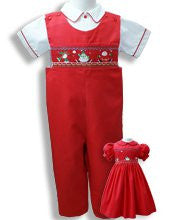 Boys Santa Christmas smocked overalls--Carousel Wear - 1