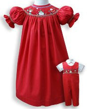 Girls Smocked Santa Claus Christmas Red Bishop Dress--Carousel Wear - 1