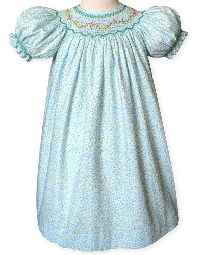 Girls Blue Floral Bishop Dress for Fall and Winter--Carousel Wear - 1