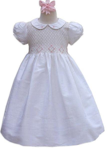 Silk Flower Girls Dress Off White--Carousel Wear - 1