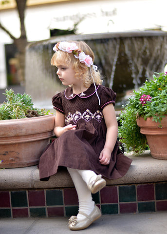 Girls Holiday Dress with Silk Embroidery for Winter--Carousel Wear - 2