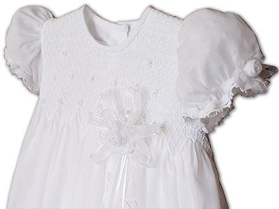 Baby Girls Lace Christening Gown with Pearls--Carousel Wear - 2