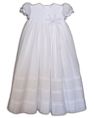 Baby Girls Lace Christening Gown with Pearls--Carousel Wear - 1