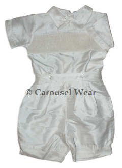 Boys Buttons on Shorts Christening Suit in Silk--Carousel Wear - 2