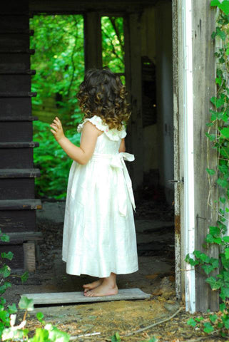 Flower Girls Off White Silk Dress with Smocking for a Special Occasions--Carousel Wear - 2