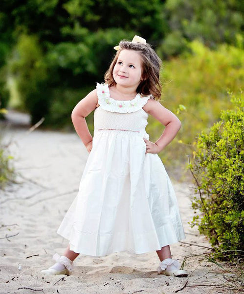 Flower Girls Off White Silk Dress with Smocking for a Special Occasions--Carousel Wear - 1