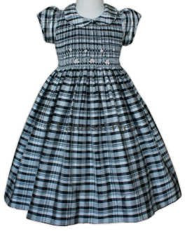 Black Plaid Smocked Silk Girls Dress--Carousel Wear - 2
