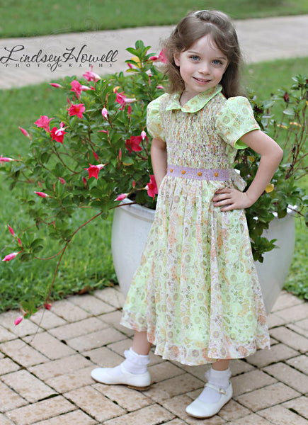 Girls paisley smocked dress--Carousel Wear - 1