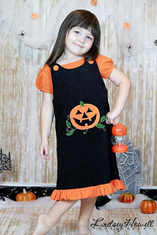 Jack-O-Lantern Baby Girl Black Halloween Jumper Dress--Carousel Wear - 3