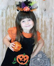 Jack-O-Lantern Baby Girl Black Halloween Jumper Dress--Carousel Wear - 1