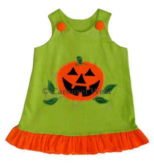 Jack-O-Lantern Baby Girls Green Halloween Dress--Carousel Wear - 2