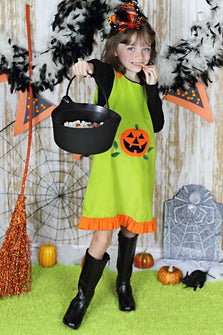 Jack-O-Lantern Baby Girls Green Halloween Dress--Carousel Wear - 1