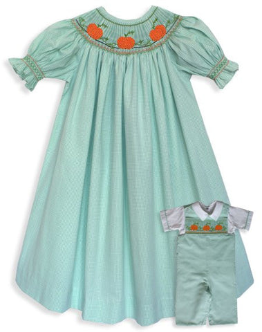 Smocked Thanksgiving Pumpkins Fall Bishop Dress for Girls--Carousel Wear - 2