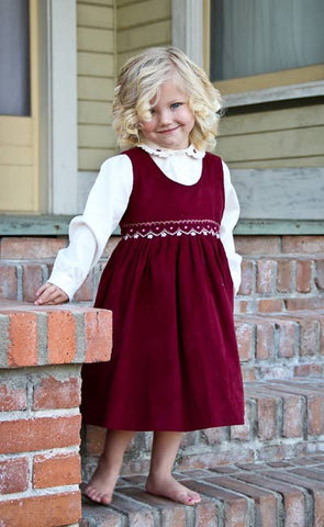 Baby Girls Fall Winter Corduroy Smocked Dress and Embroidered Blouse--Carousel Wear - 7