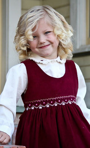 Baby Girls Fall Winter Corduroy Smocked Dress and Embroidered Blouse--Carousel Wear - 1