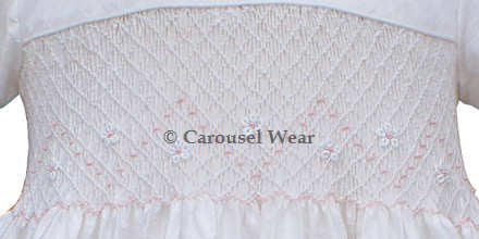Joanna Girls Silk Yoke Dress with soft pink chevron embroidery--Carousel Wear - 2