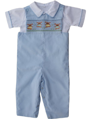 FREE! With purchase order of $100 or more.Boys Outfits for Easter with smocked bunnies--Carousel Wear - 1