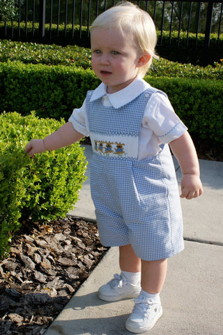 Free Boys Smocked Easter Bunny Shortall Or Longall With Purchases Over A $100 Shirt not included--Carousel Wear - 2