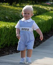 Free Boys Smocked Easter Bunny Shortall Or Longall With Purchases Over A $100 Shirt not included--Carousel Wear - 1