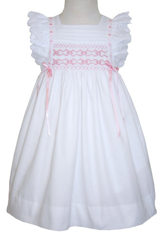 Toddler Girls Smocked Pinafore White Dress
