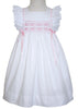 Girls Smocked Pinafore White Dress--Carousel Wear - 2