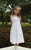 Girls Smocked Pinafore White Dress--Carousel Wear - 1