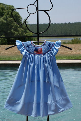 Girls US Flag 4th of July Bishop Dress Angel Wing Sleeves--Carousel Wear - 2