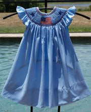 Girls US Flag 4th of July Bishop Dress Angel Wing Sleeves--Carousel Wear - 1