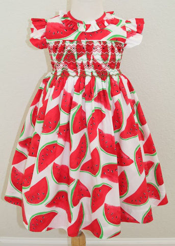 Baby Girls Summer Watermelon Red Smocked Dress--Carousel Wear - 1