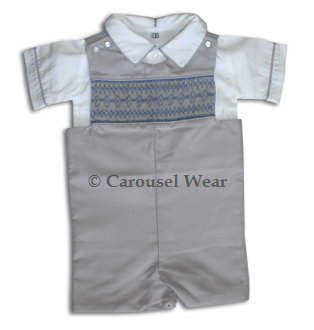 Boys fall John John in grey with blue smocking--Carousel Wear - 2