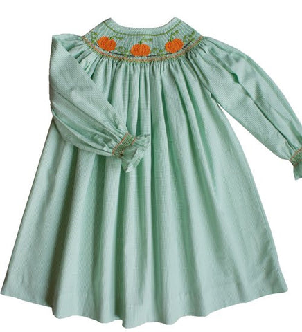 Thanksgiving Fall Pumpkin Girls Bishop Dress with Long Sleeves--Carousel Wear - 2