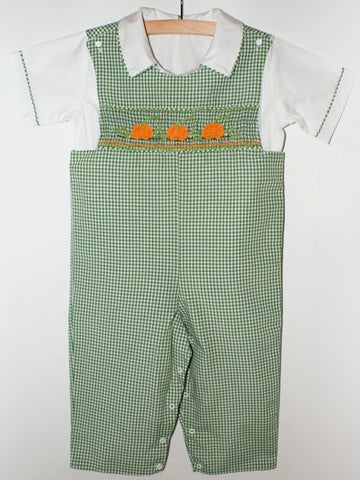 Boys Smocked Pumpkin Thanksgiving Overalls Longall--Carousel Wear - 2