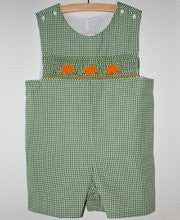 Boys pumpkin Thanksgiving shortall--Carousel Wear - 1