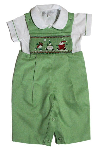 Christmas Santa smocked boys longalls--Carousel Wear - 1