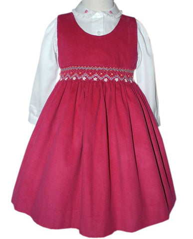Girls Pink Smocked Dress and Long-Sleeved Blouse for Fall--Carousel Wear - 2