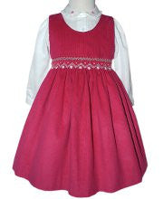 Girls Pink Smocked Dress and Long-Sleeved Blouse for Fall--Carousel Wear - 1