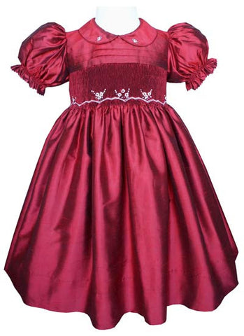 Stunning Ruby Red Silk Flower Girls Dress for the Holidays--Carousel Wear - 2