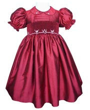 Stunning Ruby Red Silk Flower Girls Dress for the Holidays--Carousel Wear - 1