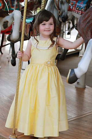 Yellow Silk Dupioni Princess Belle Smocked Flower Girls Dress--Carousel Wear - 5