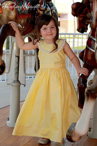 Yellow Silk Dupioni Princess Belle Smocked Flower Girls Dress--Carousel Wear - 2