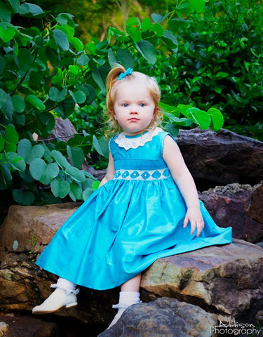 Girls Silk Pageant Sleeveless Dress in Turquoise--Carousel Wear - 2