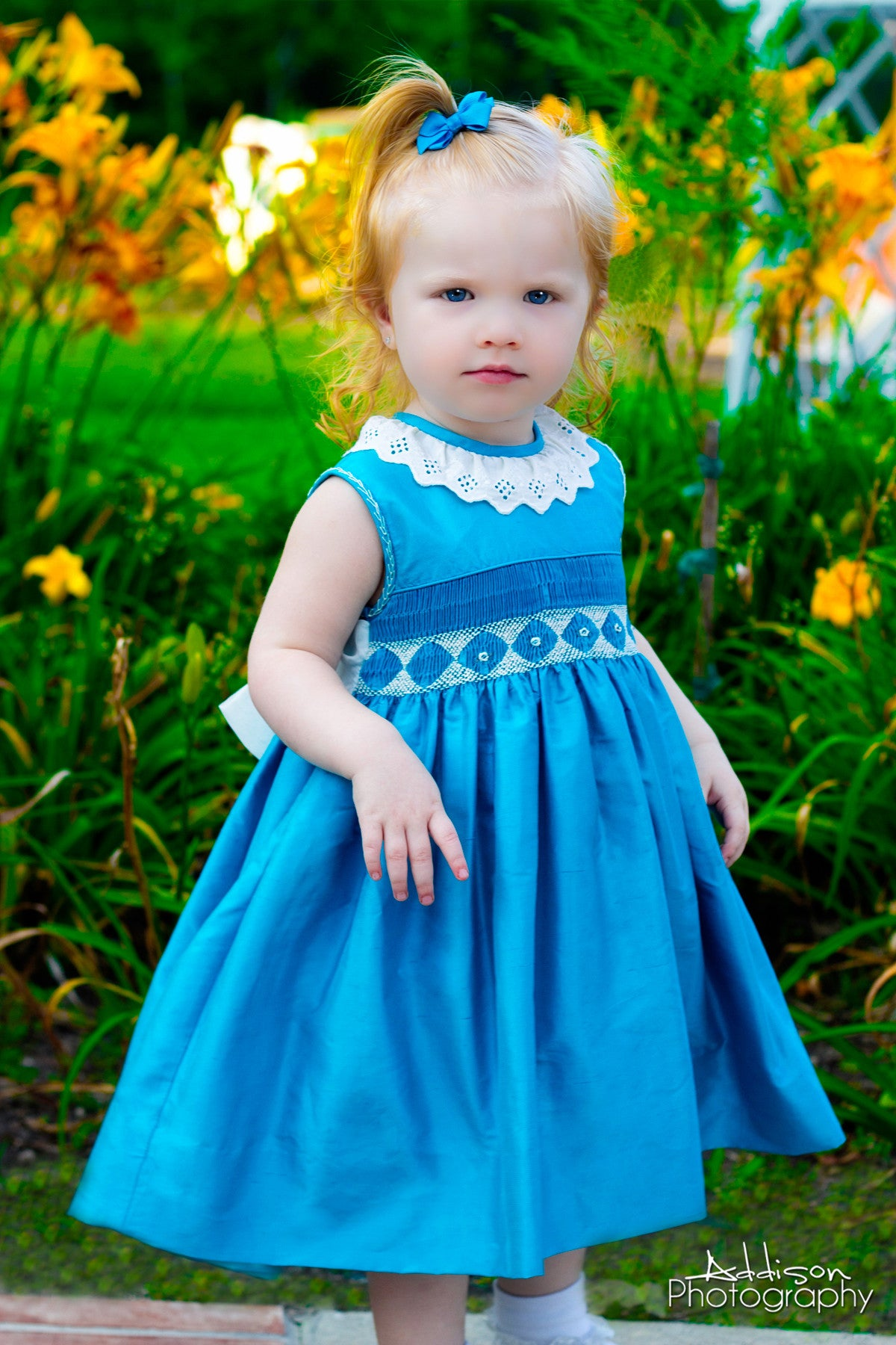 Girls Silk Smocked Dress in Turquoise and Lace