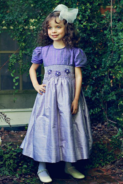 Girls Silk Smocked Dress in Light Purple--Carousel Wear - 1
