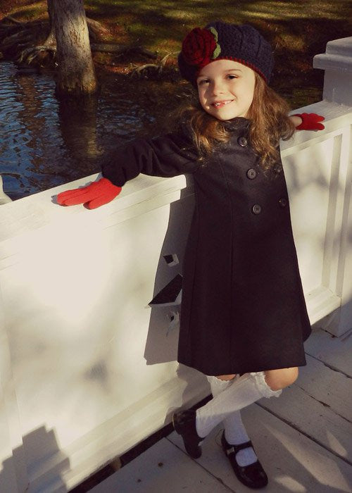 Elegant Girls Navy Wool Fall Winter Coat Double Breasted