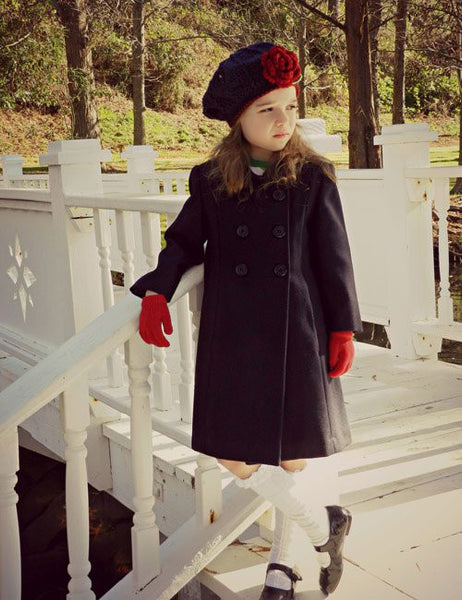 Elegant Girls Navy Wool Fall Winter Coat Double Breasted--Carousel Wear - 1