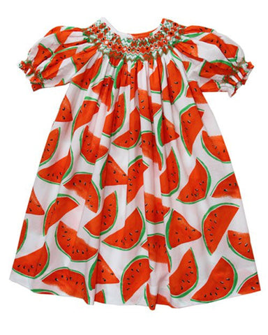 Summer Days Vermillion Watermelon Girls Bishop Dress--Carousel Wear - 2