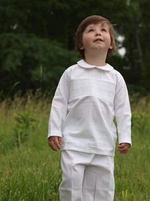 Boys Christening White Alan Pant Suit--Carousel Wear - 1