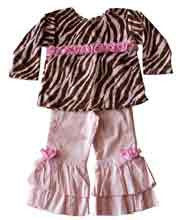 Toddler girls pink and Zebra striped set--Carousel Wear - 1