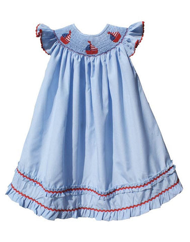 Girls American Flag with Smocked Sailboat Bishop Dress--Carousel Wear - 1
